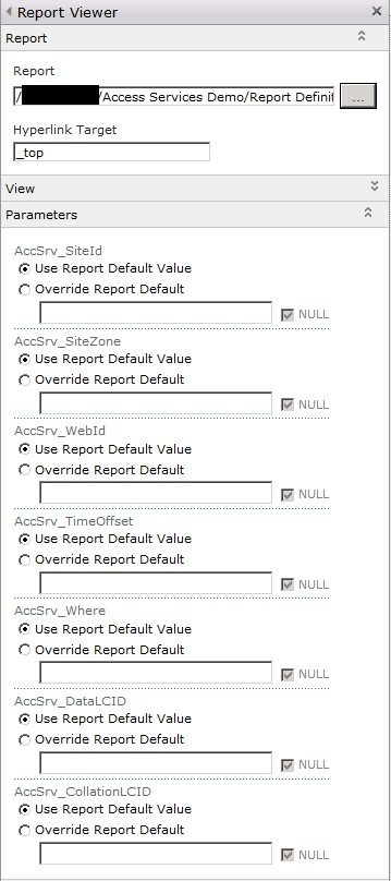 Using SQL Reporting Services Report Viewer Web Part to display
